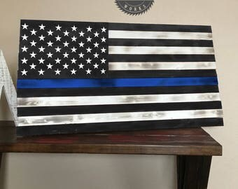 Rustic Thin Blue Line Wooden American Flag Distressed Burnt