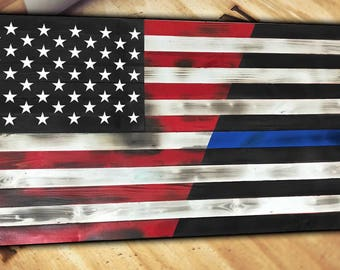 Thin Blue Line Wood American Flag Handcrafted Torn Burnt Distressed