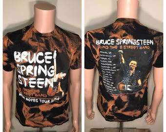 Custom Bruce Springsteen tour shirt // acid bleach washed // Vintage tour tee // faded distressed // adult size medium // rock and roll //
