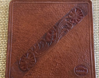 """Mouse Pad - Hand Tooled Leather - 8"""" x 8"""""""