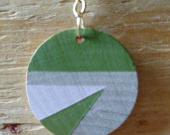 hand painted geometric wood necklace