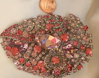 xl PINK RHINESTONES Vintage Style  Brooch Pin Necklace PENDANT