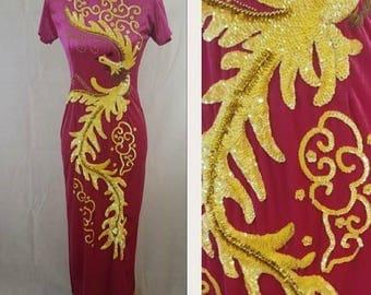 Vintage Cheongsam Sequin Dress / Asian / Bird / Yellow