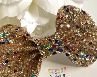 Gold & Multicolour Glitter Pinch Bow