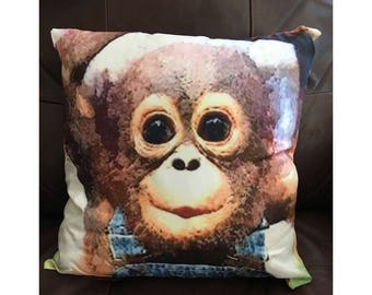 Baby Monkey in Overalls Pillow