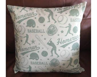 Light Blue Baseball Throw Pillow