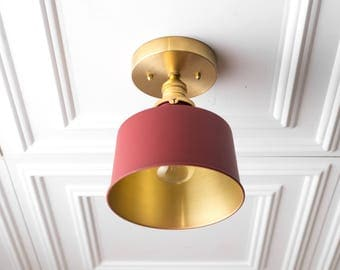 Brass Ceiling Lamp - Red Gold Light Fixture - Bucket Light - Ceiling Lights - Hardwired Lighting