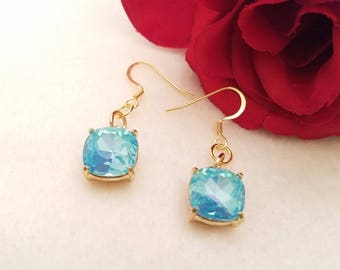 Blue Topaz Crystal Earrings With Gold French Ear Wires