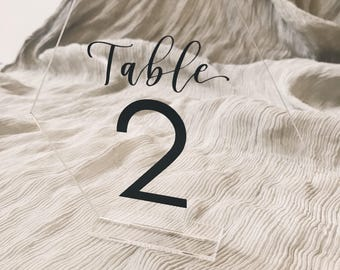 Acrylic Hexagon Table Numbers // Freestanding // Hand lettered // Vinyl // Calligraphy