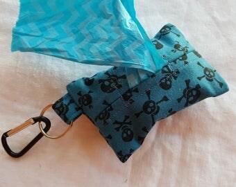 Dog Poop Bag Dispenser - Clip on Style - Blue with Black Skulls