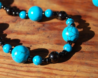 Natural Stone Chrysocolla / Onyx Bead Necklace & Bracelet