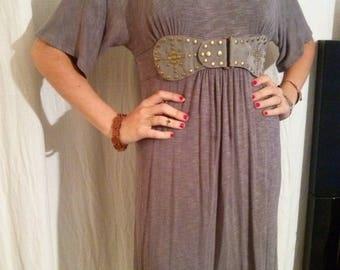 Short sleeve Heather grey viscose Jersey dress