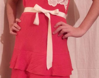 Coral linen and cotton summer dress