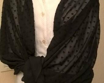 Black chiffon wedding shawl