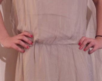 Grey silk and lace dress