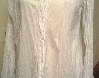 White crinkle cotton long sleeve blouse