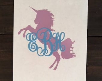 Unicorn Monogram Decal, Unicorn Yeti Decal, Monogrammed Sticker, Unicorn,  Unicorn Sticker, Monogrammed Unicorn Sticker, Princess Decal,