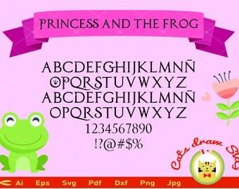 princess and the frog svg, svg, princess alphabet svg, svg file, cutt, clipart, vector, frog svg, alphabet eps, svg fonts, svg files, svg.