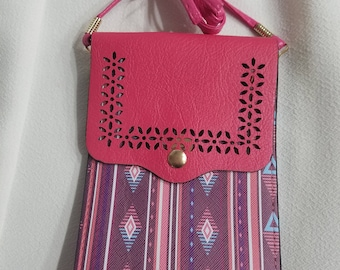 Small Purse, Cell Phone Carry On, Crossbody, iPhone Case, Extra Long Strap,Santa Fe Fabric, Navajo Style