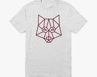 White Organic T-shirt with Bordeaux red minimal geometric wolf logo