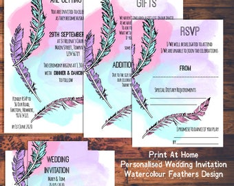 Print at Home Wedding Invitations - Feathers - Matching Items Available