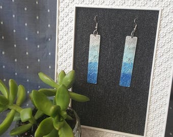 Long rectangle ocean colored distressed ombre earrings