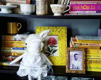 WHIMSY WHITE! Handmade, One-of-a-kind, Heirloom Rag Doll---Perfect gift for girls or nursery room decor!