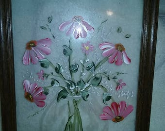 Hand painted flower pot on glass