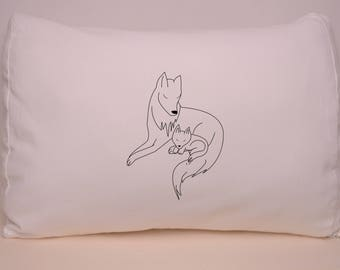deco pillow - white minimal graphic design wolf