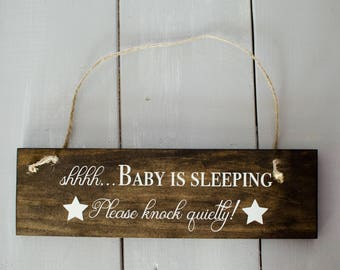 Baby Is Sleeping Sign / Naptime Door Sign / Front Door Sign / Nursery Decor / Baby Shower Gift / Please Do Not Knock Or Ring Doorbell Sign