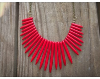 Red Boho Necklace. Bohemian Necklace.