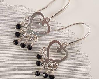 Black spinel sterling silver heart earrings
