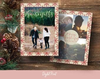 Merry Christmas Card, Linen Digital Paper, Photo Card, Holiday Card, Printable Card, Greeting Card, 5x7 Card, Digital File, JPEG