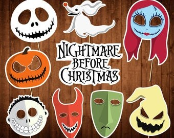 the nightmare before christmas photo booth props printable pdf halloween photo props instant - Halloween Photography Props