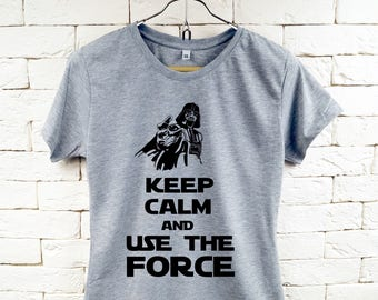 Keep Calm and Use The Force Star-Wars Darth Vader Gray T-Shirt For Women