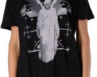 Black Open Shoulder Tee - Angel