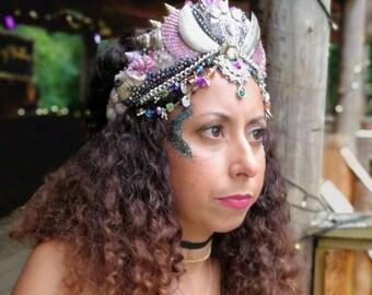 Festival Headpiece Hat Pink Warrior girl - Mermaid Shell Crown