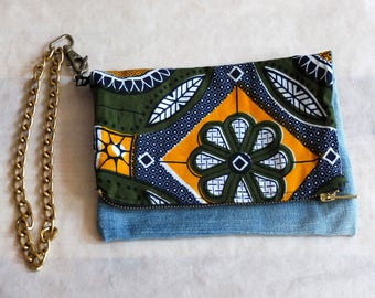 Clutch Denim and Afrikan fabric with chain | upcycled jeans