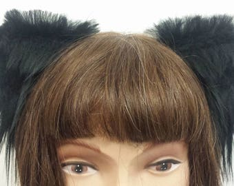 Black medium size kitten ears