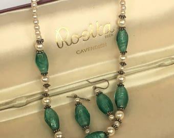 Rosita pearl and green Venetian glass demi parure necklace and earrings set in original box
