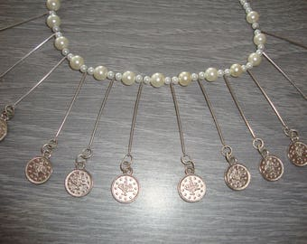 Necklace 43 cm white glass pearl beads