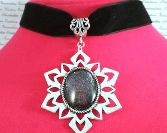 Thick black velvet rainbow speckle handpainted glass cabochon choker