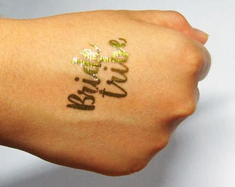 "20 x Metallic Gold ""Bride Tribe"" Hens Party Temporary Tattoos"