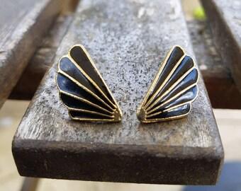 Cloissone stud earrings,black enamel earrings