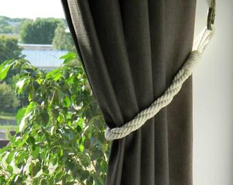 Twisted Cotton Rope Tiebacks - Nautical Decor - White (Ivory) Curtain Tie-backs