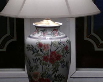 large lamp with floral print