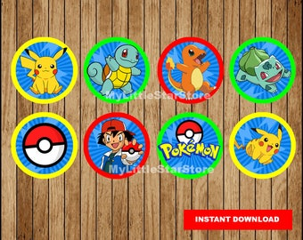 Pokemon Cupcakes Toppers, Printable Pokemon Toppers, Pokemon party Toppers Instant download