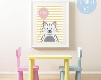 Cat Balloon Name Nursery Print, Customize your own. Choose your own background pattern, colour and name!