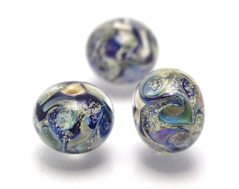 artisan lampwork glass beads for jewelry making set handmade beads deep blue space universe silver dust