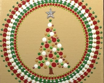 "CHRISTMAS TREE / Original Design / Handmade / Dot Art / Wall Art / Acrylic Painting / 6""x6"" Canvas Panel / Wooden Easel / Greeting Card"